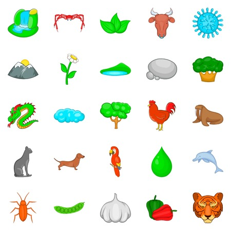 Domesticated animal icons set. Cartoon set of 25 domesticated animal vector icons for web isolated on white background
