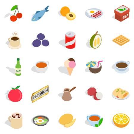 Harmful dessert icons set. Isometric set of 25 harmful dessert vector icons for web isolated on white background Illustration