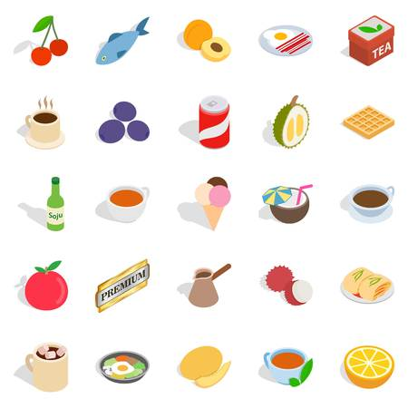 Harmful dessert icons set. Isometric set of 25 harmful dessert vector icons for web isolated on white background Ilustração