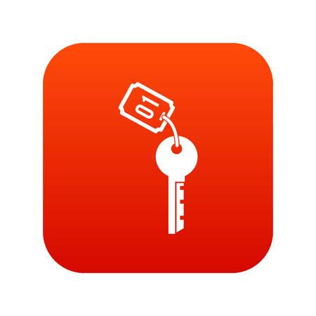 Hotel key icon digital red for any design isolated on white vector illustration