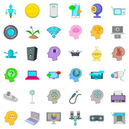 Internet video icons set. Cartoon style of 36 internet video vector icons for web isolated on white background