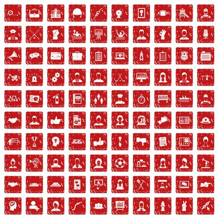 100 team work icons set in grunge style red color isolated on white background vector illustration