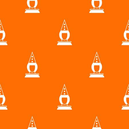Pierrot clown pattern repeat seamless in orange color for any design. Vector geometric illustration