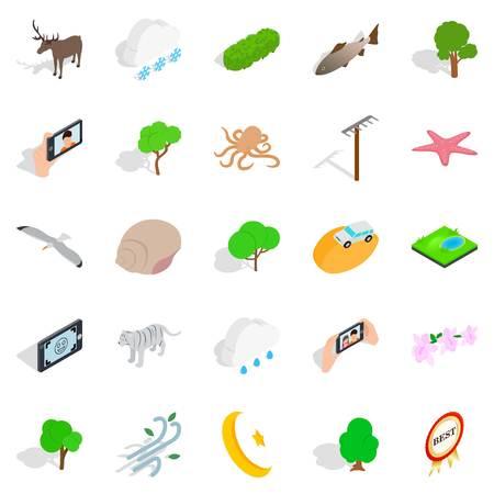 Sanctuary icons set. Isometric set of 25 sanctuary vector icons for web isolated on white background Illustration
