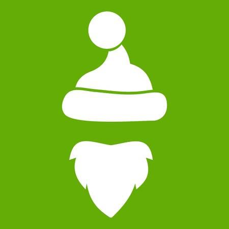 Cap with pompon of Santa Claus and beard icon white isolated on green background. Vector illustration
