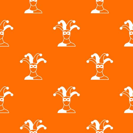 Jester pattern repeat seamless in orange color for any design. Vector geometric illustration