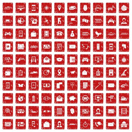100 telephone icons set in grunge style red color isolated on white background vector illustration 일러스트