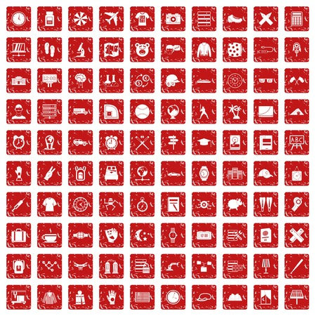 Icons set in grunge style red color isolated on white background vector illustration