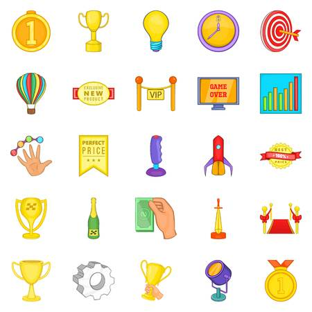 Deserved victory icons set. Cartoon set of 25 deserved victory vector icons for web isolated on white background Illustration