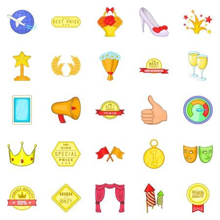 Succès dans tout ensemble d'icônes. Jeu de dessin animé de 25 succès dans tout le vecteur d'icônes pour le web sur fond blanc.