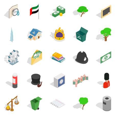 Financial capital icons set. Isometric set of 25 financial capital vector icons for web isolated on white background