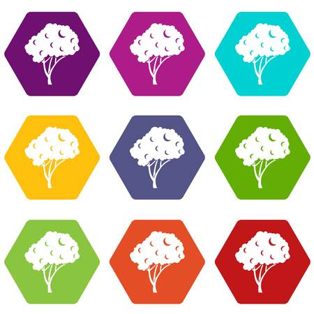 Tree icon set many color hexahedron isolated on white vector illustration