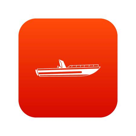 Motor speed boat icon digital red for any design isolated on white vector illustration