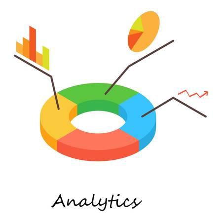 Analytics icon. Isometric illustration of analytics vector icon for web