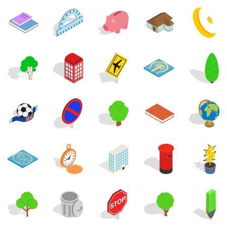 Business center icons set, isometric style
