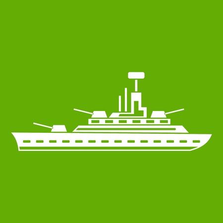 Military warship icon green