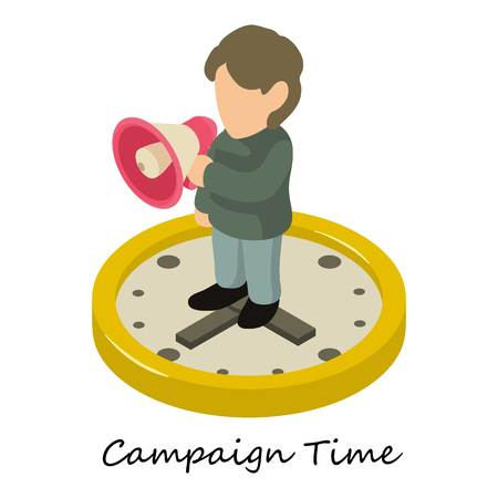 Campaign time icon. Isometric illustration of campaign time vector icon for web.