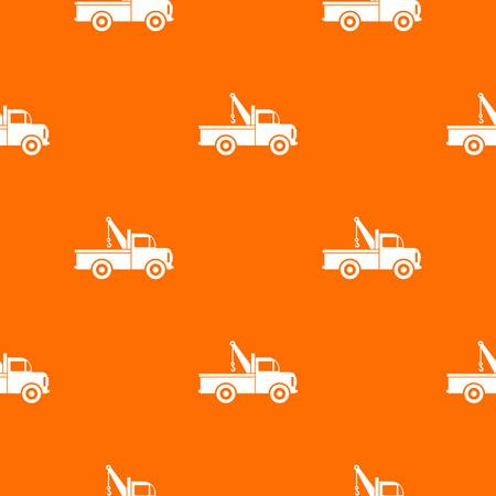 Car towing truck pattern repeat seamless in orange color for any design. Vector geometric illustration Illustration