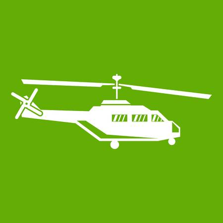 Military helicopter icon white isolated on green background, vector illustration.