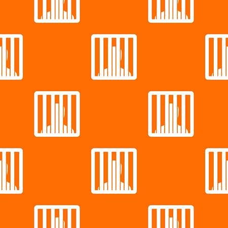 Man behind jail bars pattern repeat seamless in orange color for any design. Vector geometric illustration.
