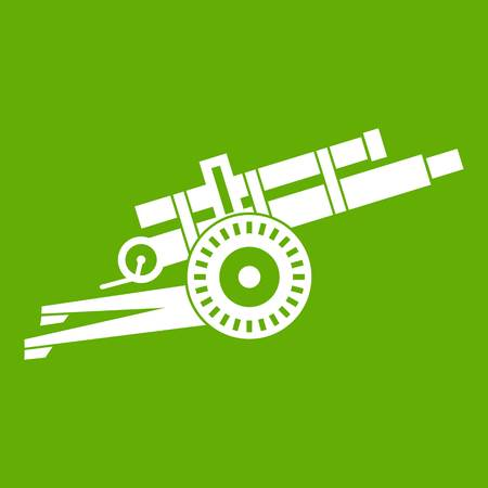 Artillery gun icon white on green background, vector illustration.