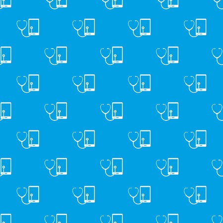 Phone diagnosis pattern repeat seamless in blue color for any design. Vector geometric illustration. Ilustração