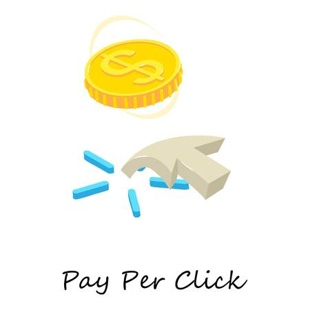 Pay per click icon. Isometric illustration of pay per click vector icon for web. Illustration