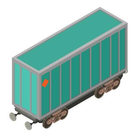 Wagon locomotive icon, isometric 3d style