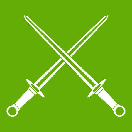 Swords icon isolated on green background. Illustration