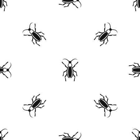 Bug pattern repeat seamless in black color for any design. Vector geometric illustration