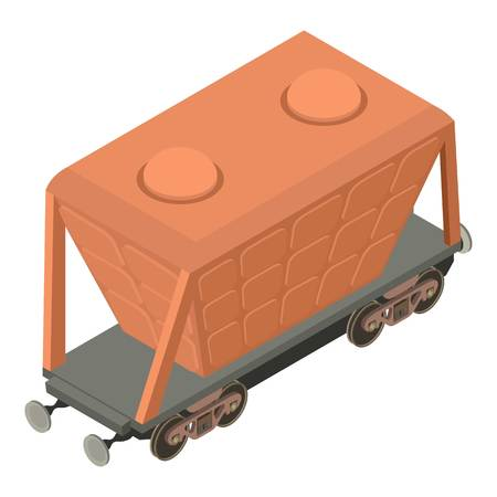 Wagon transport icon, isometric 3d style Vectores