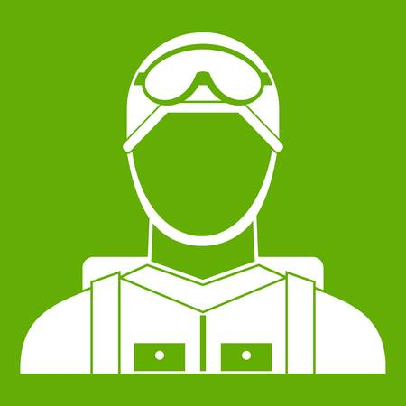 Military paratrooper icon white isolated on green background. Vector illustration