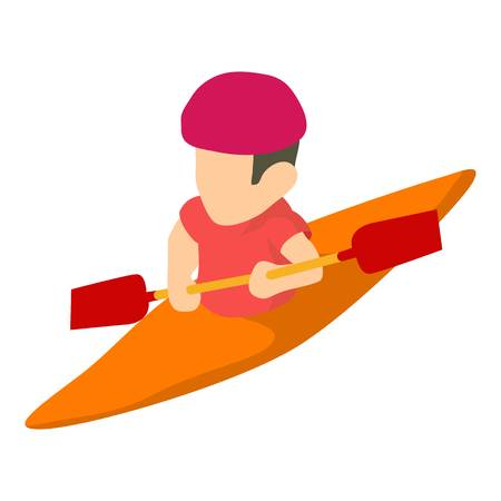 Canoe player icon, isometric 3d style Illustration