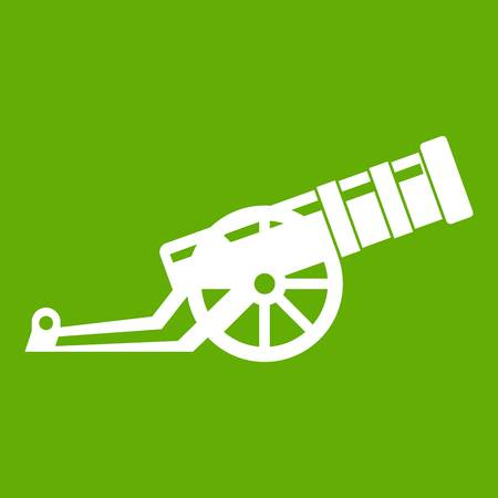 Cannon icon white isolated on green background. Illustration