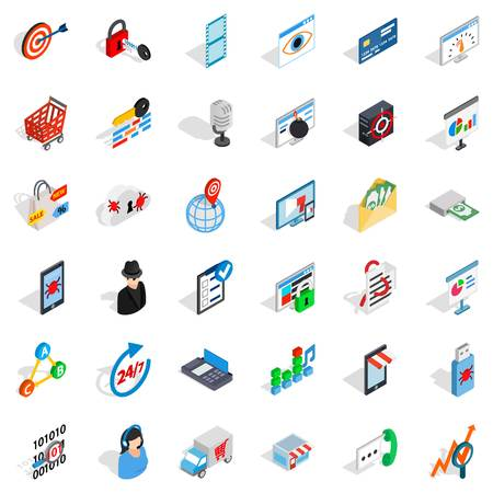 Isometric style of 36 technology icons for web isolated on white background