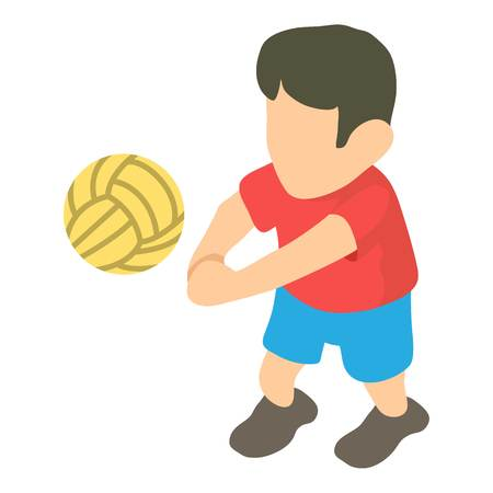 Volleyball player icon, isometric 3d style