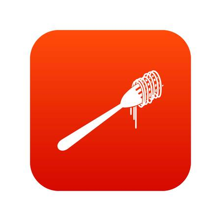 Spaghetti on a fork icon digital red Illustration