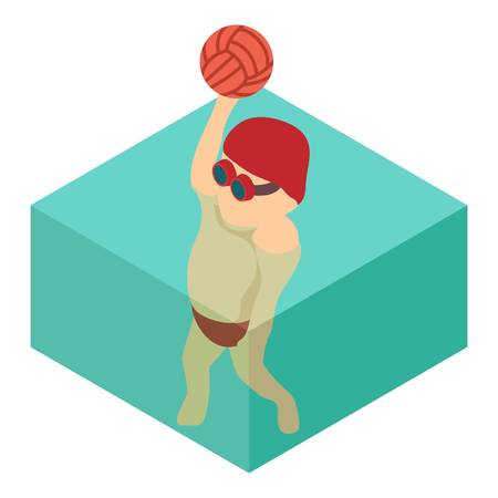 Water polo icon, isometric 3d style