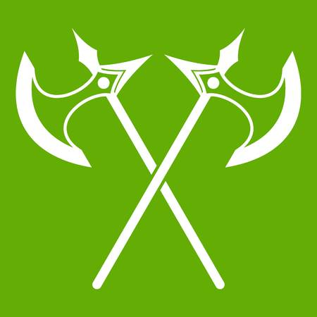 Crossed battle axes icon green Illustration