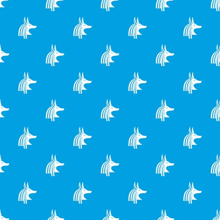 Ancient egyptian god Anubis pattern repeat seamless in blue color for any design. Vector geometric illustration Vettoriali