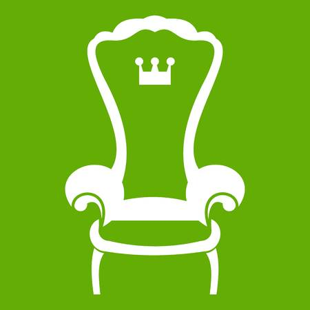 King throne chair icon white isolated on green background. Vector illustration
