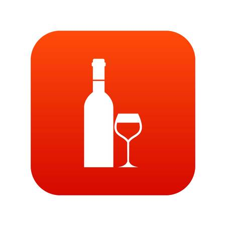Glass and bottle of wine icon digital red for any design isolated on white vector illustration Illustration