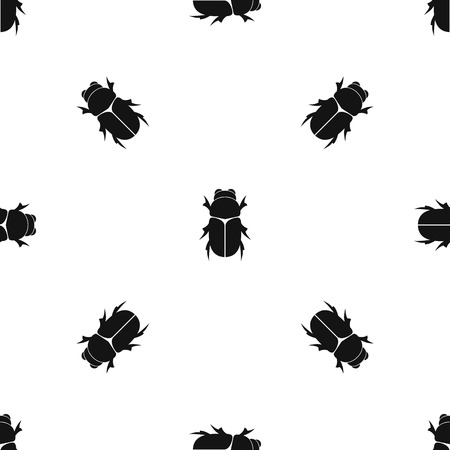Chafer beetle pattern seamless black