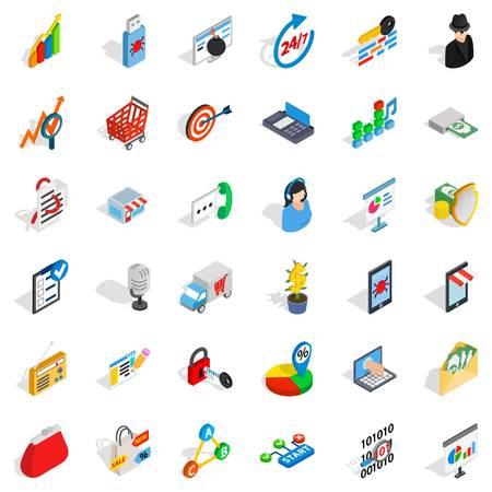 Phone business icons set, isometric style Ilustrace