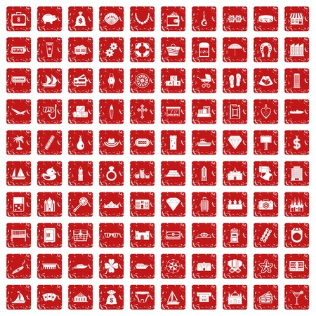 100 wealth icons set in grunge style red color isolated on white background vector illustration  イラスト・ベクター素材