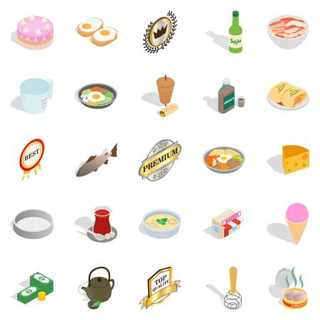 Chef icons set, isometric style