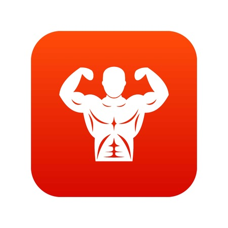 Athletic man torso icon digital red