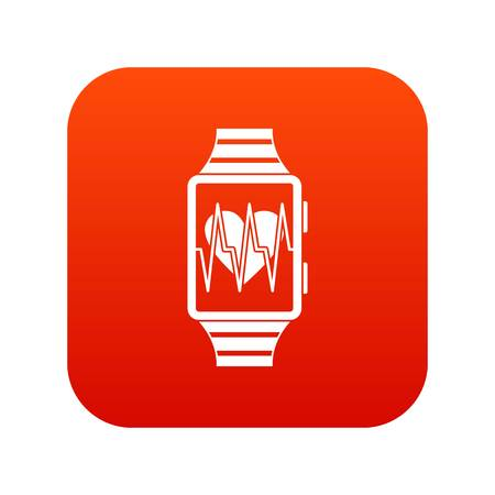 Smartwatch with sport app icon digital red for any design isolated on white vector illustration