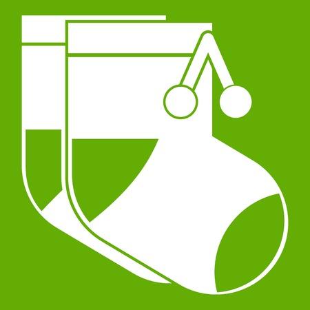 Baby socks icon green Illustration