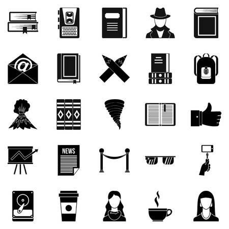Writer icons set. Simple set of 25 writer vector icons for web isolated on white background
